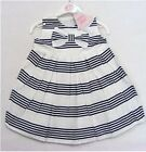 Girls Mini Moi White & Navy Striped And Bow Dress (Ages 2-3, 3-4, 5-6 & 6-7 Yrs)