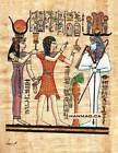 "Egyptian Papyrus Painting - Setti I, the Priest & Hathor 7X9"" + Hand Painted #48"