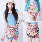 Vintage Women Floral Print High Waist Slim Stretch A-line Short Mini Skirt Dress