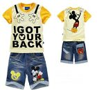 Mickey Mouse Boys Girls T-Shirts+Jean Shorts Cool Suits Kids Unisex Sets 2-8Yrs