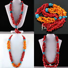 Red & Yellow Coral Howlite Turquoise Gemstone Chips Beads Collar Choker Necklace