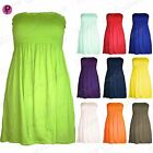 New Womens Ladies Ruched Jersey Plain Sheering Flared Swing Bandeau Boobtube Top
