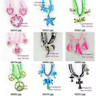 k003m07 Silver Plated Animal Gems Rhinestones Pendant Silk Necklace Earrings Set