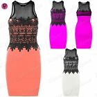 New Womens Ladies Sleeveless Contrast Mesh Lace Detail Insert Bodycon Mini Dress