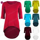 Womens Ladies Stretchy Dipped Hem  3/4 Sleeves High Low Bodycon Mini Dress Top