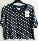 Urban Outfitters Tshirt Tee Navy Spotty Polka Dot Cropped Crop Top BNWT XS S M