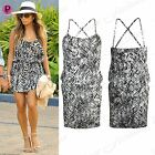 Womens Ladies Stretchy Monochrome Celebrity Crossover Strappy Waist Ruched Dress
