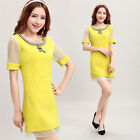 Women's Yellow Sheath Day Shift Wear to Work Bodycon Summer Party Cocktail Dress