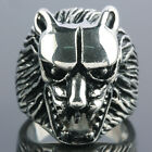 Size 8-12 Punk Gothic Stainless Steel Lion Head Animal Men's Finger Ring Jewelry