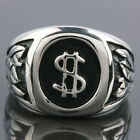 Size 7-12 Punk Biker Stainless Steel Money Sign Dollar Men's Finger Ring Jewelry