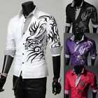 Hot Men's Top Design Dragon Design Shirt Slim Fit Casual/Dress Shirt UK 2Colors