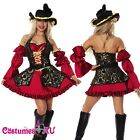 Ladies Caribbean Pirate Costume Wench Swashbuckler Fancy Dress Full Outfit Hat