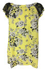 New Ladies Lemon Yellow Black Floral Lace Print Tunic Top Plus Sizes 16 - 28