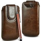 Brown Magnetic PU Leather Pull Tab  Flip Case Cover & Stylus for Mobile Phones günstig