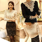 New Fashion Women's Long Sleeve Shirt Blouse Nice Ladies Tops Black/Beige