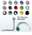 1pc. 2mm Flat CZ Gem 20GA (0.8mm) 316L Surgical Steel Nose Screw (Choose Color)