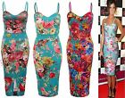 Womens Ladies Tropical Floral Bodycon Sleeveless Pencil Midi Long Summer Dress