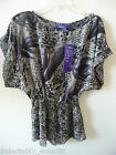 Miley Cyrus MAX AZRIA Smocked Chiffon Dolman Top Shirt XS S NEW Violetacom Grey