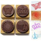 Retro Wooden Rubber Stamp Handwriting Scrapbooking DIY Flower Craft + Inkpad