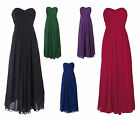 Long Bandeau Strapless Formal Chiffon Ball Gown Evening Dress UK sizes 8-22