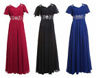 Elegant Formal Ballgown Evening Dress w/ Batwing Short Sleeves UK sizes 8 - 20