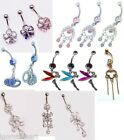 Body Piercing Double Layer Crystal Gem Flower Bar Belly Navel Ring 925 Silver