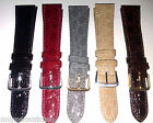 GENUINE LEATHER 'CROCODILE' PATTERN DESIGN WATCH STRAP + 2 FREE PINS - All Sizes