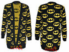 WOMENS LONG SLEEVE WORM BATMAN PRINTED LADIES KNITTED CARDIGAN KNITWEAR 8-14