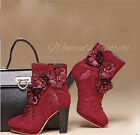 Elegent Women General Leather Flower High Heels Block Cut Out Shoes Ankle Boots