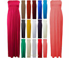 Womens Boobtube Bandeau Long Jersey Strapless Plus Size Sheering Maxi Dress 8 26