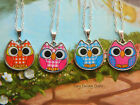 OWL CHARM NECKLACE PENDANT PINK BLUE RED GINGHAM CUTE KITSCH