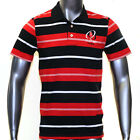 Ulster Rugby Mens Cotton Striped Polo Shirt 2014-2015 (Black/Red/White)