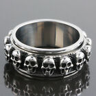 Men's Biker Stainless Steel Spinning Skull Heads Skeleton Band Rings Size 7-14