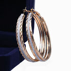 NEW Muti Tone Yellow Gold Silver Sparkle Big Round Hoop Earrings MK161US1