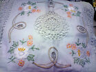 """A pair of  beautiful embroidered Crochet Cushion Cover -100% cotton - 16"""" square"""