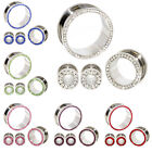Multiple Sizes Solid Color Crystal Silver Stainless Steel Flesh Tunnel Ear Plugs