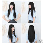 Stylish black Fashion Long straight women's Girl full Hair Wig cosplay UKEF
