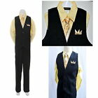4PC Black Yellow Boys Vest Set, Wedding Party Boys Formal Suit ♥ Boys Outfit ♥