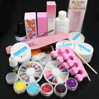 DIY Glitter Powder Glue File Nail Art Top Coat UV Gel Tips Decorations Set Kit