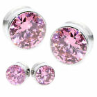 Multiple Sizes Huge Pink Crystals Stainless Steel Screw Flesh Tunnels Ear Plugs