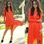 New Stylish Women Chiffon Casual Loose Long Sleeve Party Cocktail Sexy Dress S-L