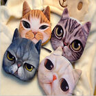 ab108m09 Women Cute Cat 3D Face Owl Purse Eyes  Bags Zip Wallets Handbags Clutch