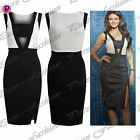Womens Ladies Contrast Panel Celebrity Sleeveless Side Slit Pencil Bodycon Dress