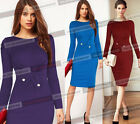 Womens Long Sleeve Work Cocktail Party Tunic Bodycon Sheath Wiggle Dress 121