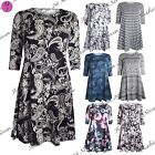 Womens Ladies Floral 3/4 Sleeves Stretchy Printed Flared Tunic Smock Swing Dress