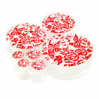Multiple Sizes Red Rose Sparrow Tattoo Art Acrylic Flesh Tunnels White Ear Plugs