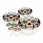 Multiple Sizes Mexican Sugar Skull Acrylic Screw Flesh Tunnels White Ear Plugs