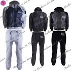 Mens Zip Up Nylon Contrast Hooded DLX Project Jacket Sweatpants Fleece Tracksuit