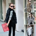 Hot Sell Farm Rabbit Fur Vest Raccoon Collar Gilet Coat Jacket Outwear Great New