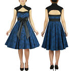 Archaize Printed Dress Chicstar Blue Rock and Roll Swing Dance Pin Up Rockabilly